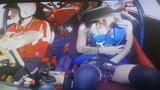 Sexy young girl in overknee show pantie upskirt in race car
