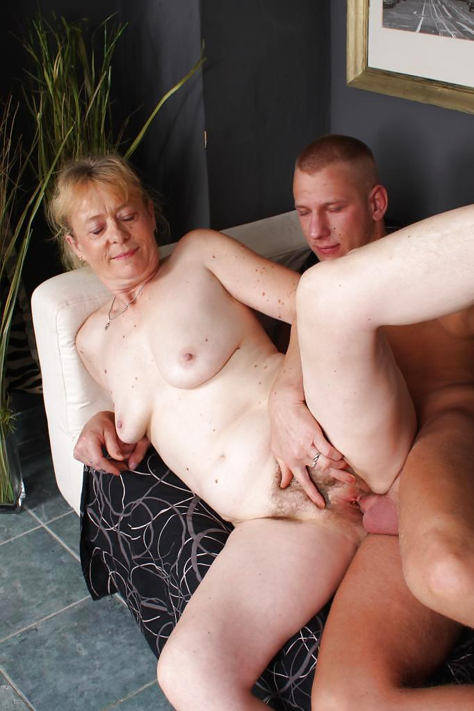 Amateur granny young cock