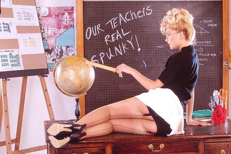 Chubby blonde teacher