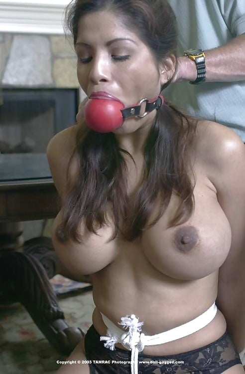 Biggest red ball gag elbows boobs