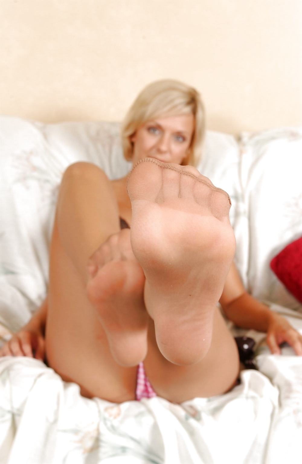 Smelling stocking feet