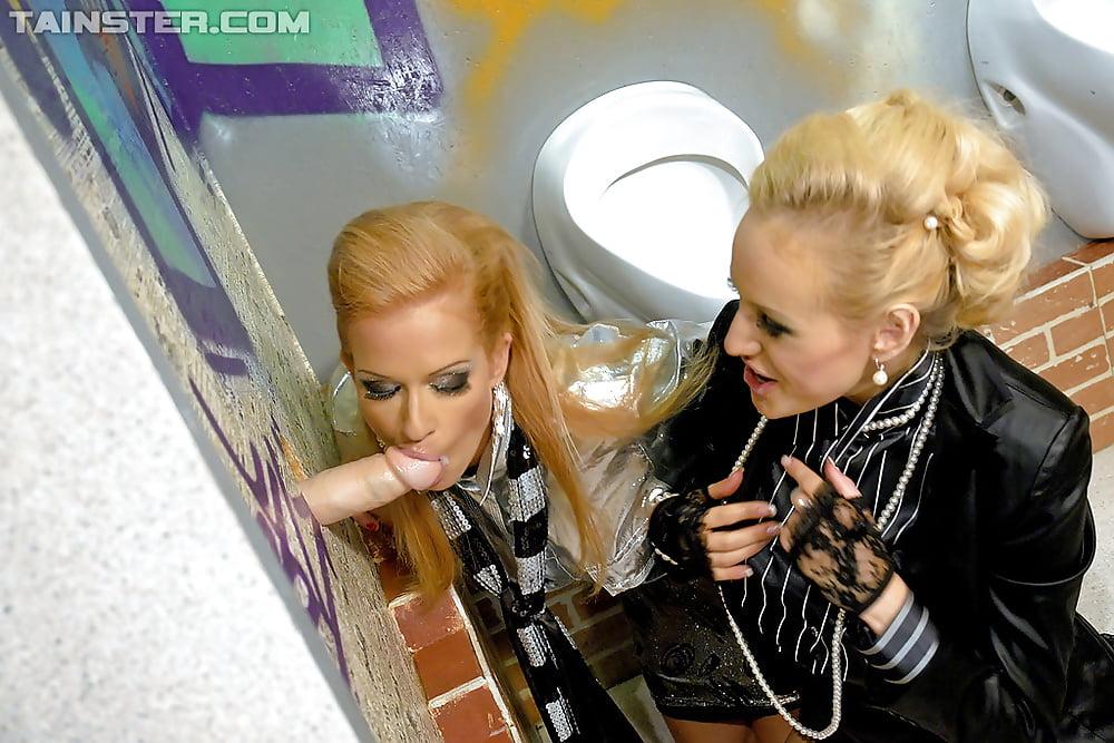 Brunette lesbian strapon